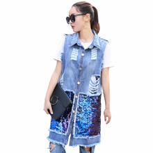 Rlyaeiz Spring Mid-long Denim Women's Vest 2019 Summer Fashion Sequins Pockets Waistcoat Denim Vest Sleeveless Jeans Jackets(China)