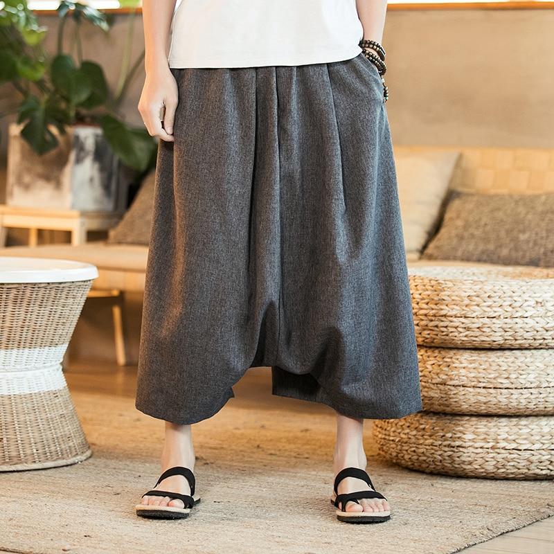 Summer Bohemia Extra Width Male Bermuda Casual Thin Board Shorts Men Loose Linen Shorts Knee Length Harem Trousers Solid Grey