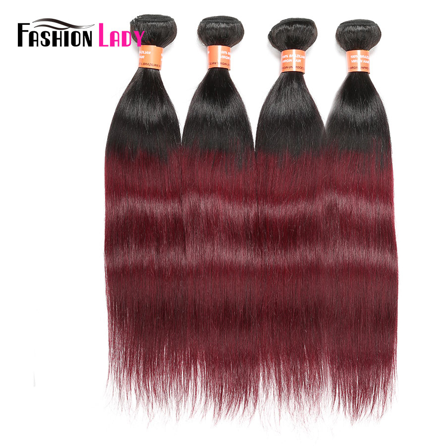 Fashion Lady Pre-Colored Ombre Brazilian Hair 1B/99j Straight Hair Bundles 4 Bundles Two Tone Human Hair Extensions Non-Remy