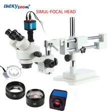 Luckyzoom 3.5X-90X Simul-Focal Double Boom Stand тринокуляр стерео Zoom микроскоп 14MP HDMI камера 144 шт. кольцо свет Microscopio