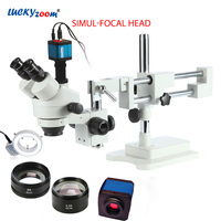 Luckyzoom 3.5X 90X Simul Focal Double Boom Stand Trinocular Stereo Zoom Microscope 14MP HDMI Camera 144pc Ring Light Microscopio