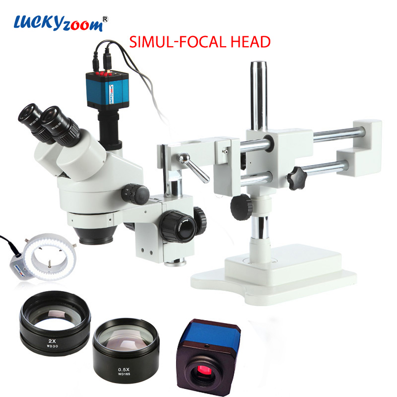 Luckyzoom 3.5X-90X Simul-Focal Double Support de Flèche Stéréo Trinoculaire Zoom Microscope 14MP HDMI Caméra 144 pc Anneau lumière Microscopio