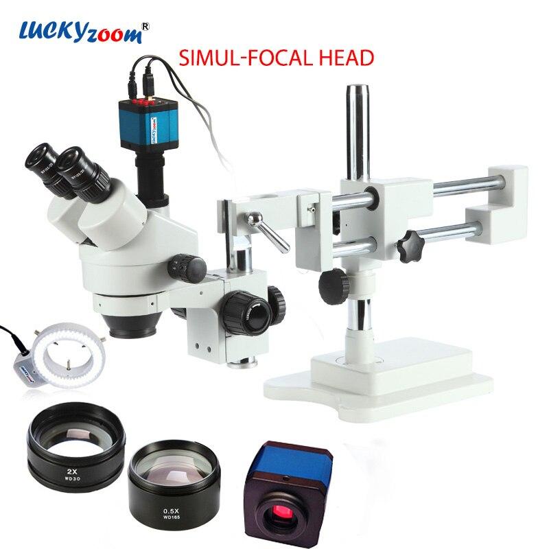 Luckyzoom 3.5X-90X Simul-Focal doble Boom soporte Trinocular estéreo Zoom microscopio 14 MP HDMI Cámara 144 anillo de pc luz Microscopio