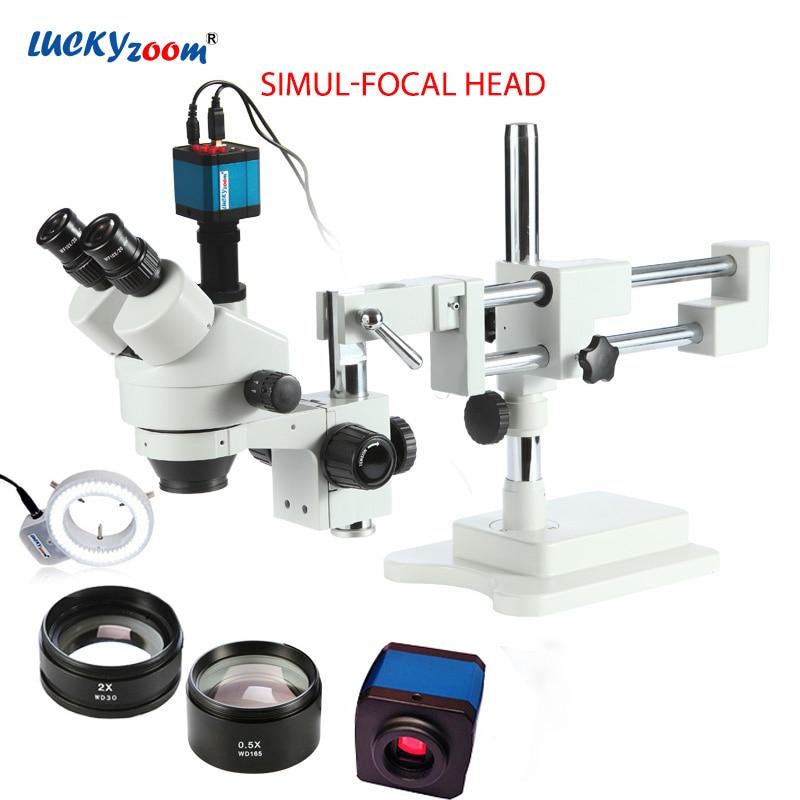 Luckyzoom 3.5X-90X Simul-foco doble Boom soporte Trinocular estéreo Zoom Microscopio 14MP HDMI Unid Cámara 144 PC anillo luz Microscopio