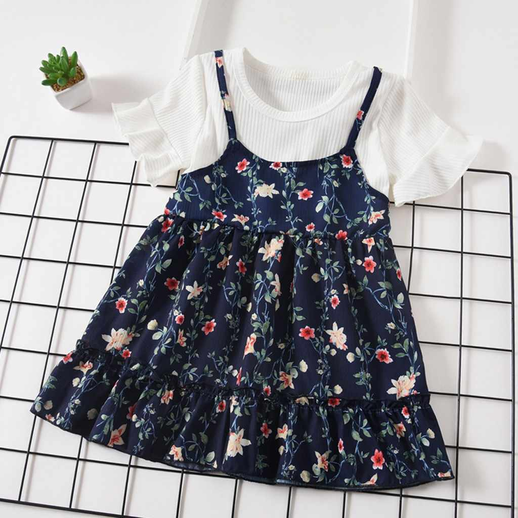Toddler Baby Kids Girls Dresses Summer Clothes Fly Sleeve Ruched Floral Flowers Print A-Line Summer Chidlren Toddler Dress 2019