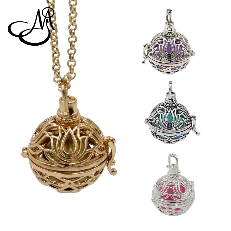 5set Wholesale Vintage Silver Lotus Flower Cage Pendant Necklace