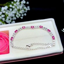 shilovem 925 sterling silver real natural Ruby Bracelets fine Jewelry trendy women party new plant wedding 3*5mm bl030509agh