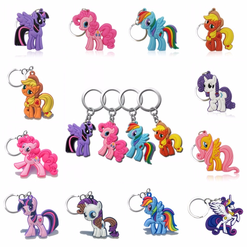 Hot Sell 100pcs/set PVC Cartoon Little Horse Key Chain Anime Figure Key Ring Key Holder Kid Toy Pendant Keychain Fashion Trinket-in Key Chains from Jewelry & Accessories    1