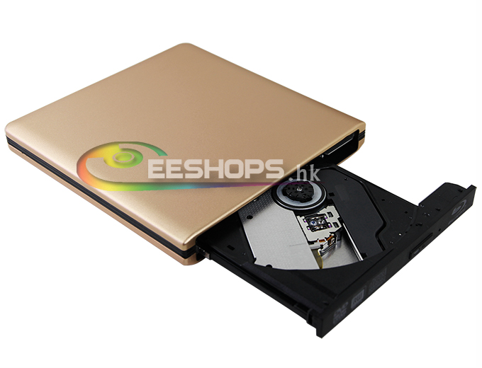 USB 3.0 6X 3D BD-RE DL 4X BDXL Blu-ray Writer Drive for Dell Inspiron 15 5548 5547 7548 7537 7348 Convertible Laptop Gold Case