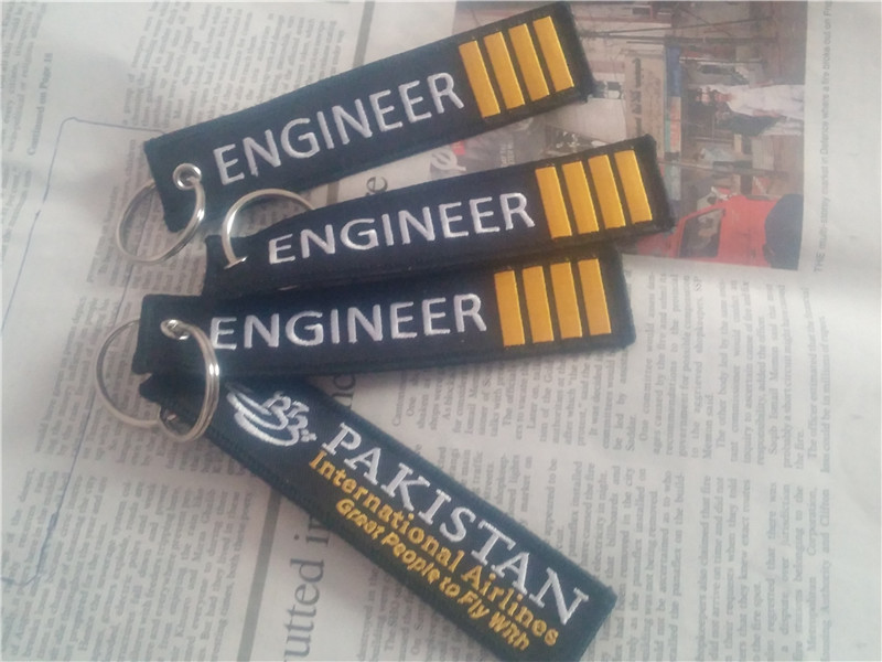 US $98 8 |Engineer 4 Bars Pakistan International Aviation Great People to  Fly With Aviation Embroidered Key Chain Keyrings-in Key Rings from