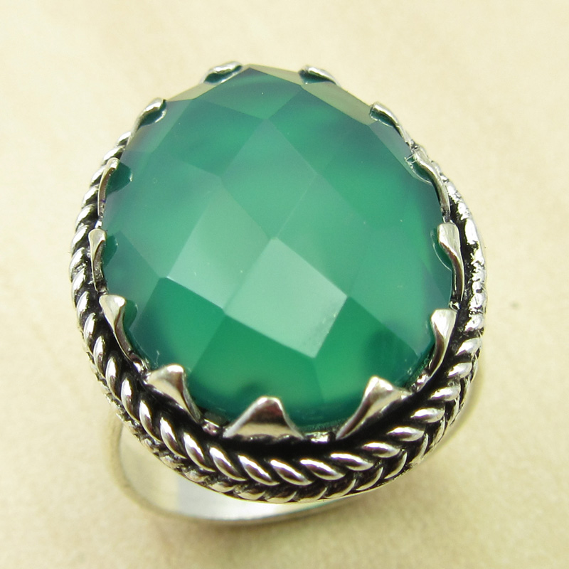 COWORKERS Ring, GREEN ONYX Silver Plated Fashion Jewelry Size US 6 ANTIQUE LOOK India Jewelry