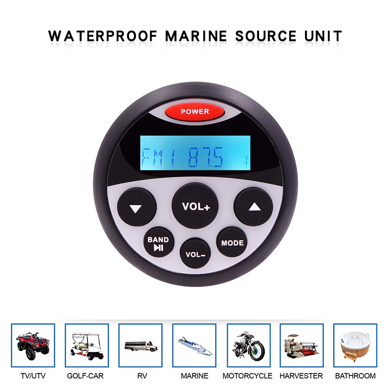 Waterproof Marine Stereo Bluetooth Radio Motorcycle Audio Boat Car MP3 Player Auto Sound System FM AM Receiver For SPA UTV ATV