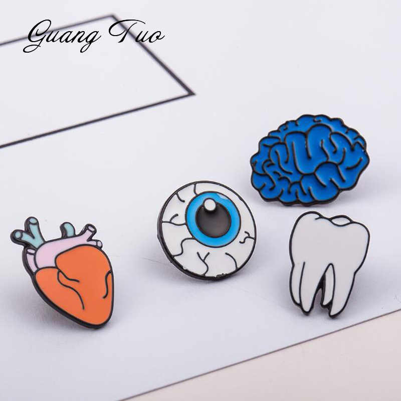 YS002 Cartoon Button Pins Badge Jewelry Enamel Human Organs Brooches For Women Brain Eye Tooth Heart Brooch Lapel Pin Collar