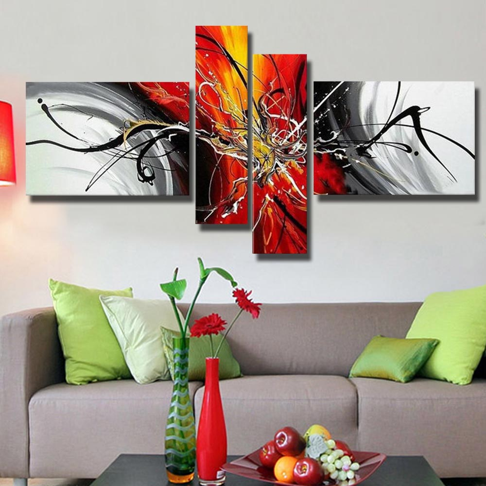 Pop Art Home Decor: Pop Sale Handmade Abstract Landscape Oil Paintings On