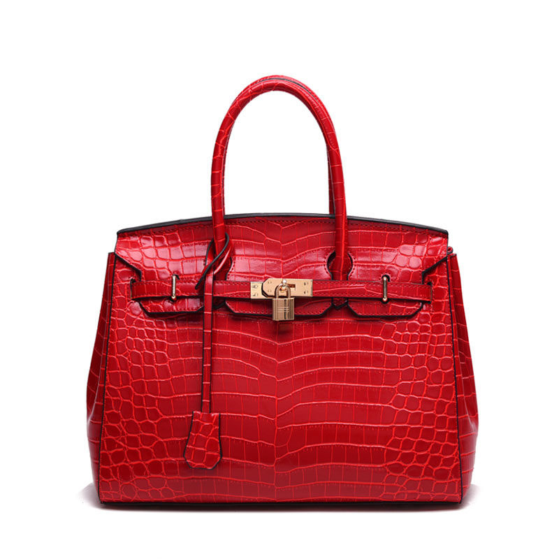 Trendy Luxury Ladies Red font b Handbag b font Occident Style Crocodile Printing Designer Top Quality