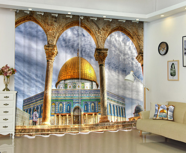 3D Middle East Architecture Window Curtain For Living Room