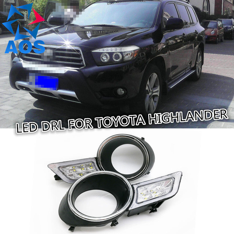 2PCs/set car daylight waterproof super bright LED DRL Daytime Running Lights for Toyota Highlander 2009 2010 2011