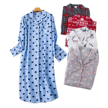 Plus size long sleep dress women sleepwear winter warm 100% brushed cotton long sleeve nightgowns Women pyjamas night long dress