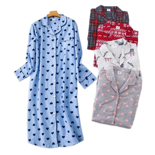 Plus size long sleep dress women sleepwear winter warm 100% brushed cotton long sleeve nightgowns Women pyjamas night long dress