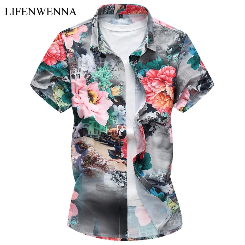 Plus Size 7XL New Summer Fashion Men's Shirt Slim Fit Men Short Sleeve Floral Shirts Mens Clothes Trend Casual Mens Flower Shirt