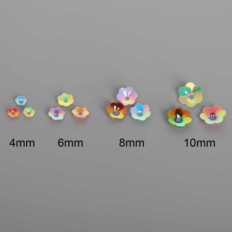 Tamanho escolha 4/6/8/10mm Flor Forma PVC Lantejoulas soltas de Vestuário Acessórios De Costura Para DIY art Decoração Jewelry Making
