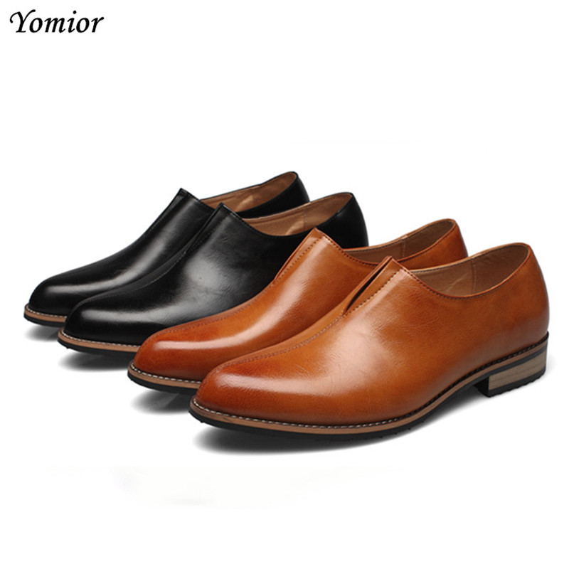 Yomior Fashion Classic Men Dress Shoes Genuine Leather Black Formal Office Business Office Man Suit Footwear Wedding Oxfords 2017 classic polka dot lace up men brogue dress shoes genuine leather brown black formal office business man suit shoe e71815 21 page 9