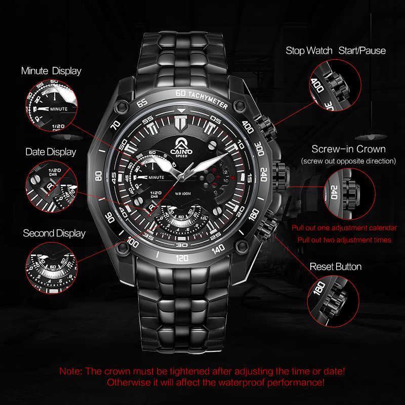 CAINO Men's Multi-Function Sports Watches Men Luxury Brand Waterproof Analog Quartz Wrist Watch Luminous Hand Relogio Masculino