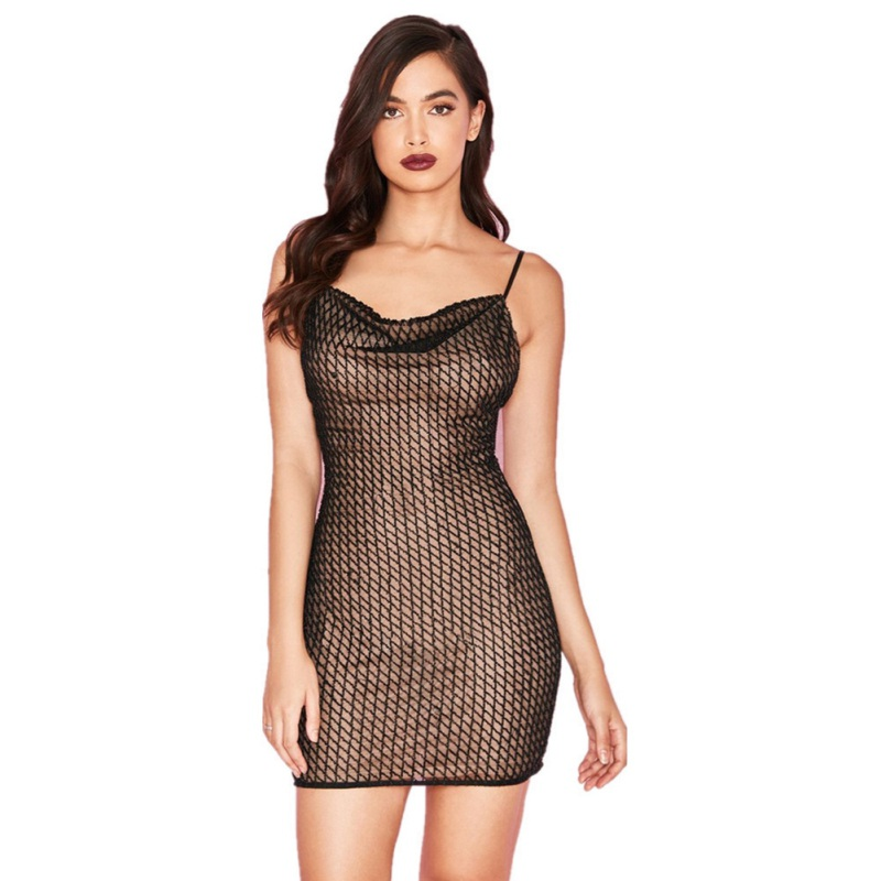 Spaghetti Strap <font><b>Bodycon</b></font> <font><b>Dress</b></font> <font><b>2018</b></font> Summer <font><b>Sleeveless</b></font> Mesh Plaid Party <font><b>Sexy</b></font> Short <font><b>Dress</b></font> Women Mini <font><b>Dress</b></font> <font><b>Night</b></font> Clubwear image