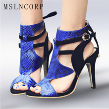 Size 34-43 Sexy Open Toe Women Sandals Fashion Thin High Heels Gladiator Summer Party Stiletto Shoes Ankle Buckle Strap Boots