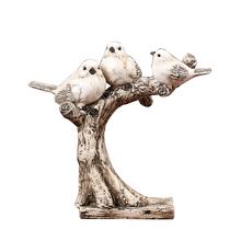 Modern Animal Figurines Bird On Branch Ornament Vintage Miniature Fairy Garden Home Decoration Accessories Living Room Gift