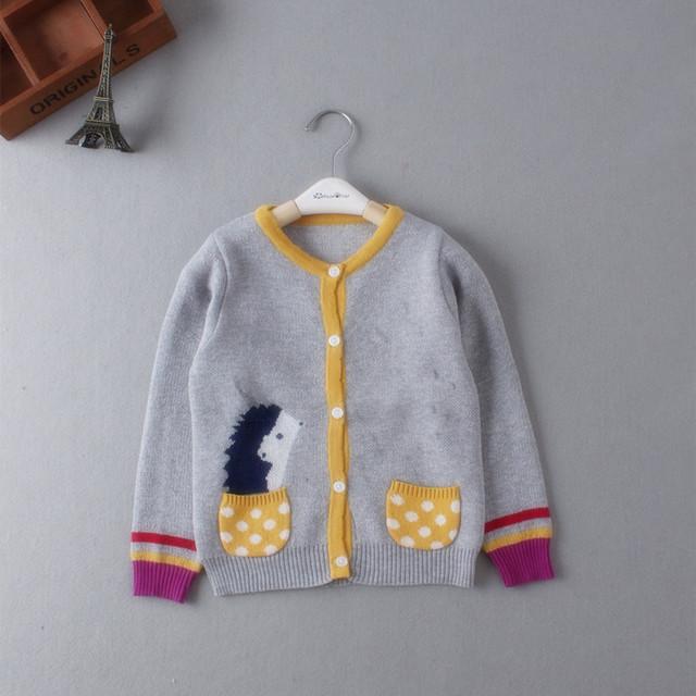 Nueva primavera otoño niños rebecas de los cabritos Sweater historieta de moda, bebés y las muchachas suéter para 80 - 120 cm desgaste