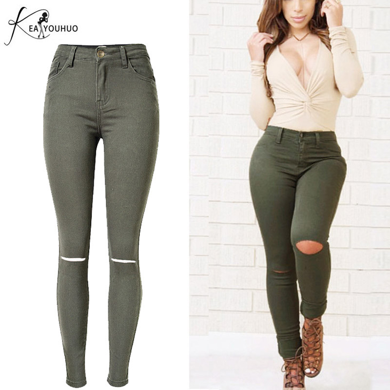 b0437e0d663c 2018 High Waist Ripped Jeans For Women Pencil Denim Camouflage Pants Ladies  Vintage Army Green Trousers Skinny Joggers Women
