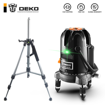 DEKO Green 5 Lines 6ポイントレーザーレベル高精度強い光Nivelレーザー360 Graus 3D屋外レベル(三脚付き)nivelaレーザーpt gresie
