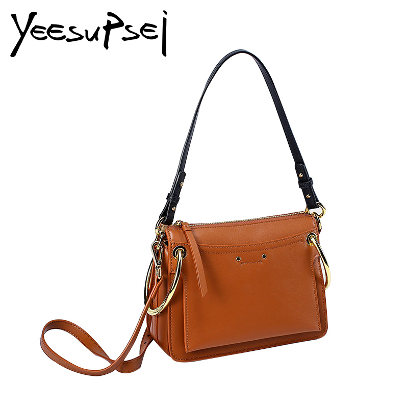 YeeSupSei Female Genuine Leather Messenger Bag Women Famous Brand Genuine Leather Crossbody Bag With Two Ring And Single Strap genuine leather