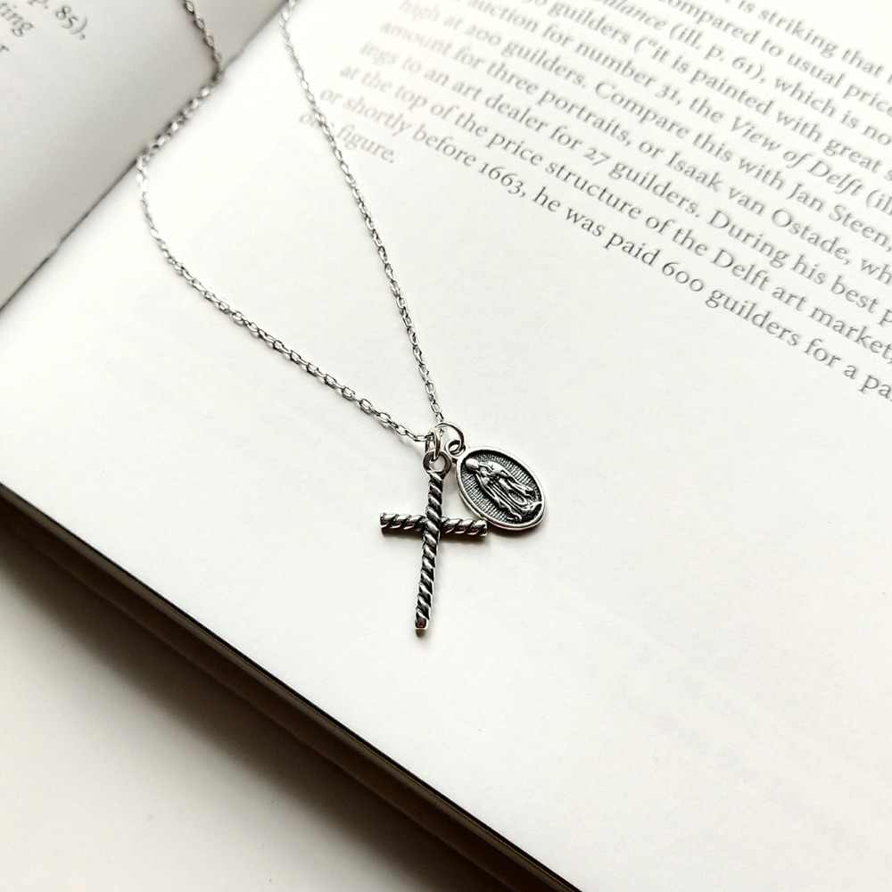 Retro Vintage Thin Women's Authentic 925 Sterling silver Twisted Cross Religion &Oval God pendant Choker necklace charms X212