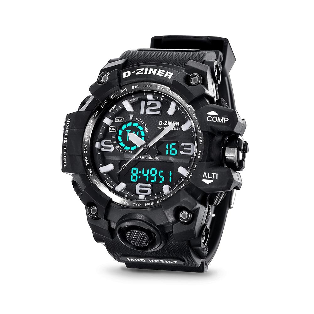 2017 Hot analog Digital Sport for Men Led Quartz Waterproof Watch Brand Shock Army Causal Digital