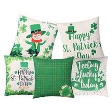 Día de San Patricio cojín verde sombrero de trébol almohada cubierta de  algodón de lino funda 64ec2869ea8