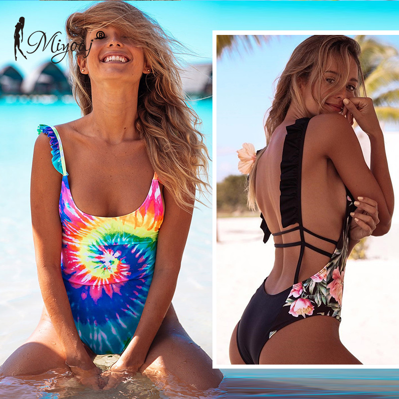 77179ab2e1e Detail Feedback Questions about Miyouj Ruffle One Piece Swimsuit Bandage  Lace Up Swimwear Hollow Out Floral Print Bathing Suit Women Backless  Biquini ...