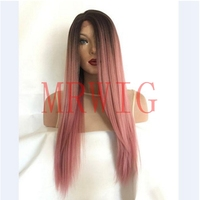 MRWIG Long Straight Ombre Pink Heat Resistant Synthetic Two Tone Right Side Part 22Inch Real Hair 150% 300g for Lady