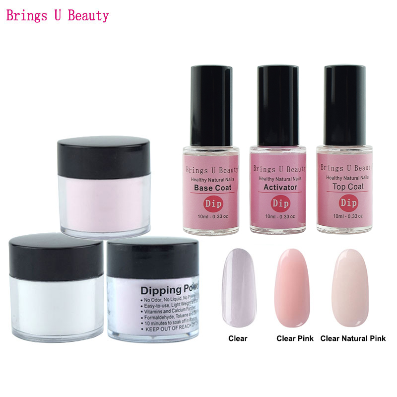 6 in 1 French Manicure Dipping Powder Tool Kits Set 10g/Box 10ml Base Coat Top Coat Activator Dip Powder Nails Natural Dry 6pcs box dipping powder top base coat activator kit dip system no uv light needed fast dry dip powder nails starter kit