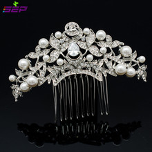 hot deal buy bella trend vintage wedding hair jewelry for bridal clear leaf flower pearl austrian crystal zircon hair comb headpiece 1468r1