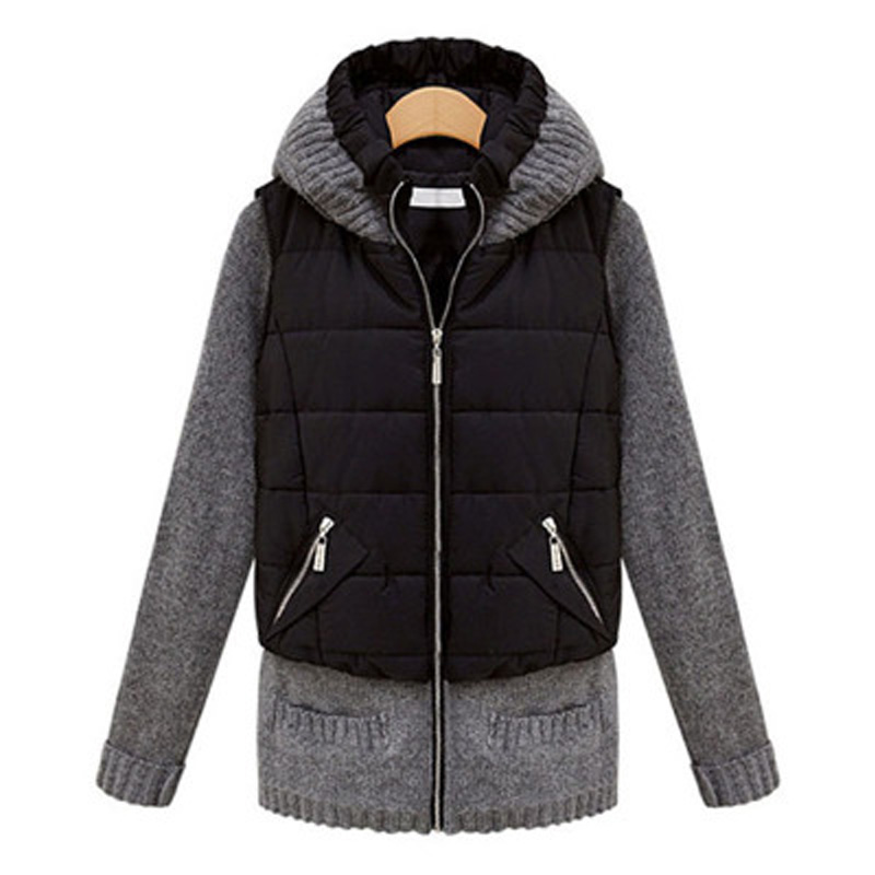 Autumn and winter outerwear women's fashion vest small cotton-padded jacket plus size slim medium-long wadded jacket with hood