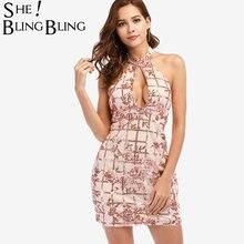 c7b2f79517f SheBlingBling Mixed Embroidery Sequins Halter Dress Summer Fashion  Sleeveless Open Back Cutout Front Choker Neck Mini Dress