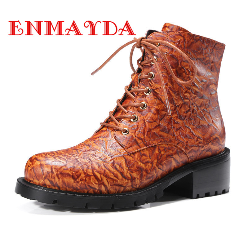 ФОТО ENMAYDA Lace-up Round Toe Fashion Motorcycle Boots Shoes Woman Square Heels Spring &Autumn Ankle Boots for Women Platform Shoes