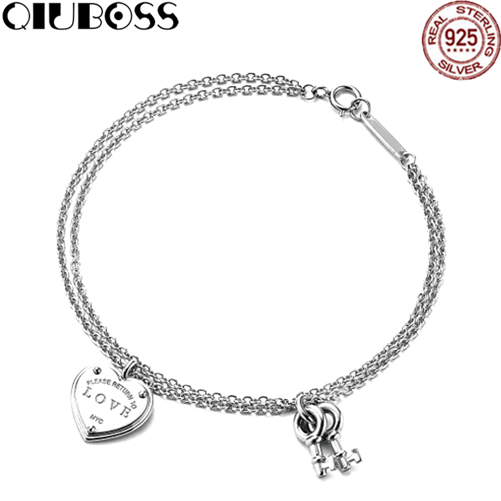 QIUBOSS Trendy Heart Bracelets Brand TIFF 925 Streling silver Pendant Charm New York For Women Elegant Fine Bracelet Jewelry trendy letter heart round rhinestone bracelet for women