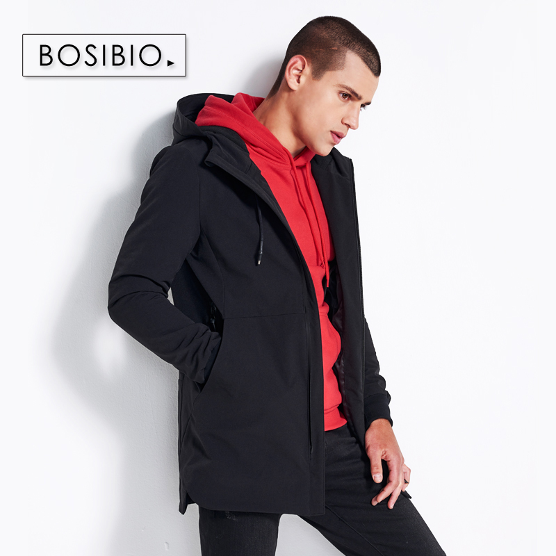 BOSIBIO Mens Slim Fit Hooded Jackets Fashion Male Windbreaker 2018 Spring Autumn Solid Trench High Quality MK803