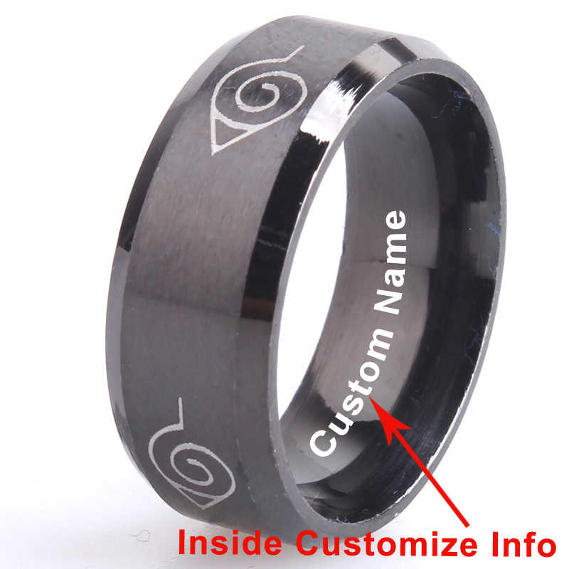 Custom Name engrave logo brushed Naruto Konoha sign 316L Stainless Steel finger rings for men  women wholesale