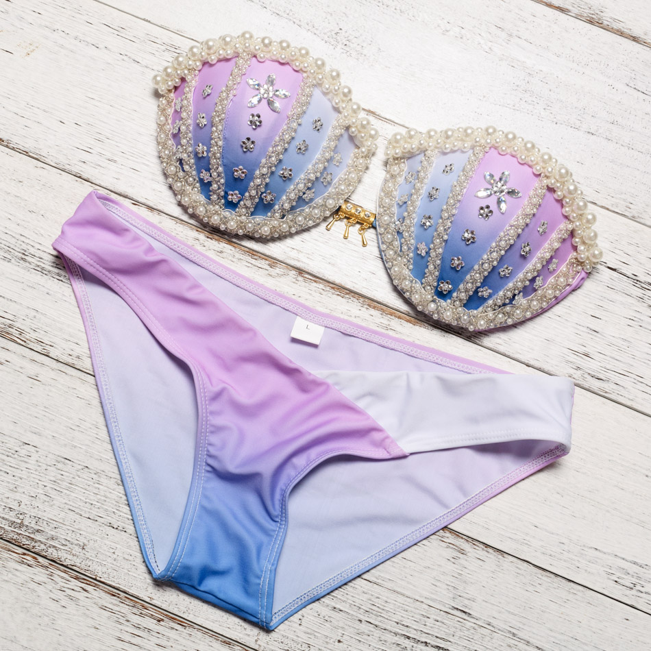 Handmade Sew Pearl Shine Cup Up Swimsuits Shell Bikinis Set Swimwear Sexy Bathing Suits Women maillot de bain femme Bikini