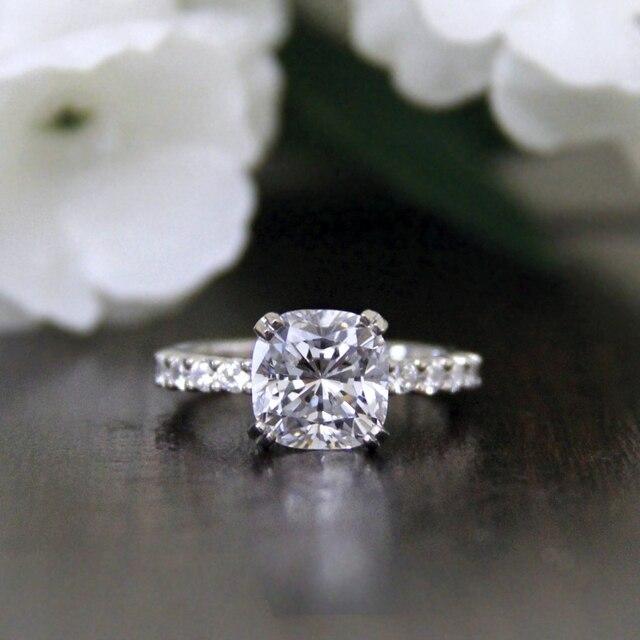 fe4d5abe01a1 Cushion Cut Diamante Simulado anillo Para Las Mujeres de 2.7 QUILATES S925  plata con oro de