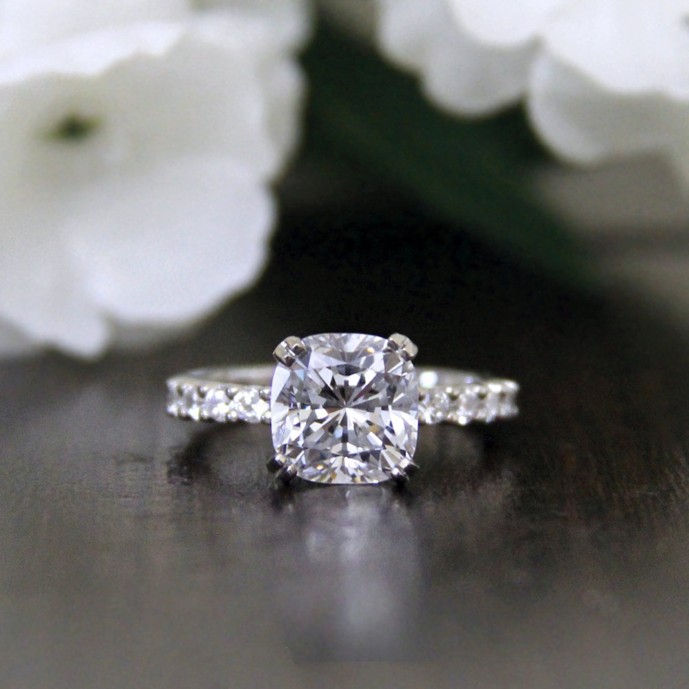 Cushion Cut Simulated Diamond Ring
